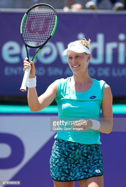 Alison Riske of the United States celebrates defeating Angelique Kerber of Germany during day third of the Mallorca Open at Country Club Santa Ponsa...