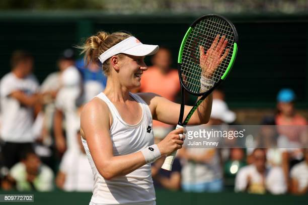 Alison Riske of The United States celebrates victory after her Ladies Singles second round match against Kristina Mladenovic of France on day four of...
