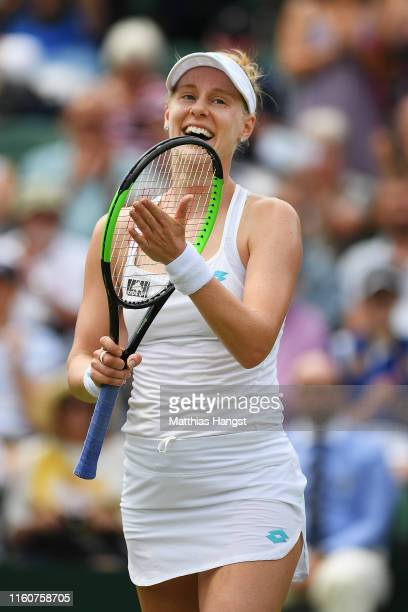 Alison Riske of The United States celebrates victory in her Ladies' Singles fourth round match against Ashleigh Barty of Australia during Day Seven...