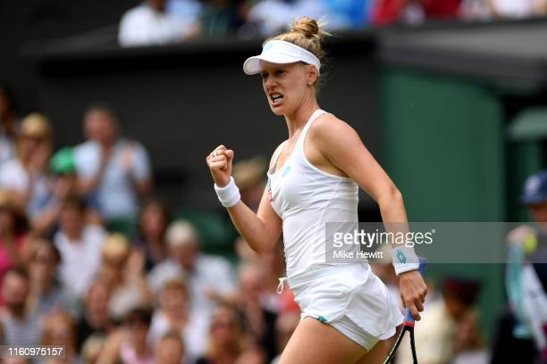Alison Riske of the United States celebrates winning the second set in her Ladies' Singles Quarter Final match against Serena Williams of the United...