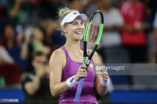 Alison Riske of the United States celebrates winning the Singles Semifinal match against Petra Kvitova of Czech on Day 6 of 2019 Dongfeng Motor Wuhan...