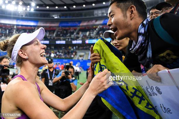 Alison Riske of the United States celebrates with fans after the Ladies single semifinal against Petra Kvitova Day 6 of 2019 Dongfeng Motor Wuhan...