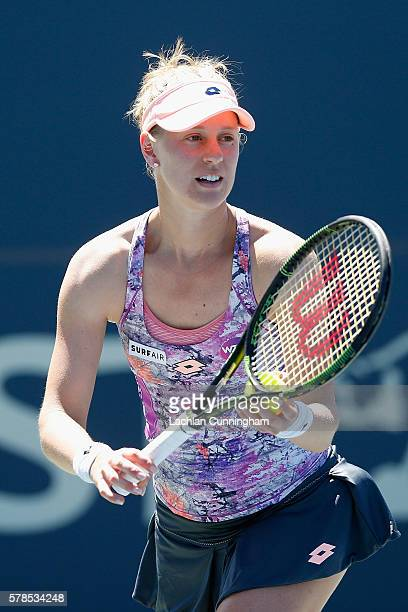 Alison Riske of the United States competes against Ana Bogdan of Romania during day four of the Bank of the West Classic at the Stanford University...