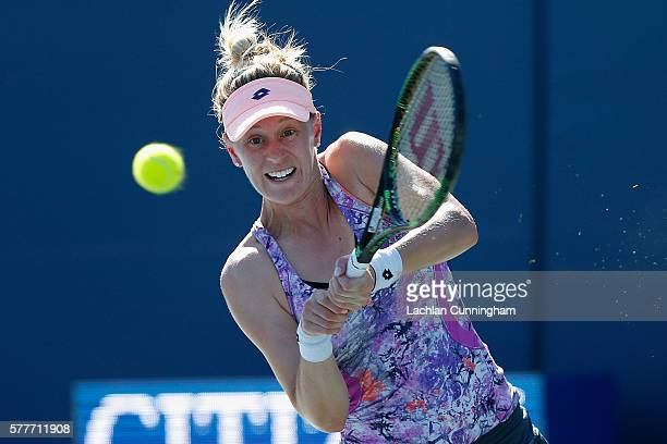 Alison Riske of the United States competes against Varvara Lepchenko of the United States during day two of the Bank of the West Classic at the...