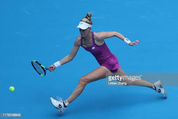 Alison Riske of the United States in action against Naomi Osaka of Japan during the Women's singles third round of 2019 China Open at the China...