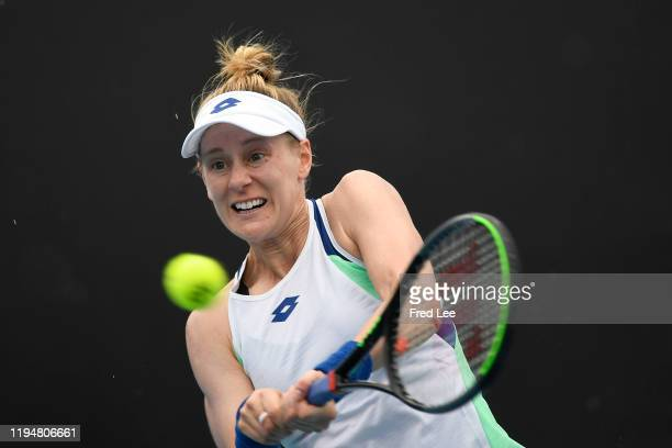 Alison Riske of the United States in action during her Women's Singles first round match against Yafan Wang of China on day one of the 2020...