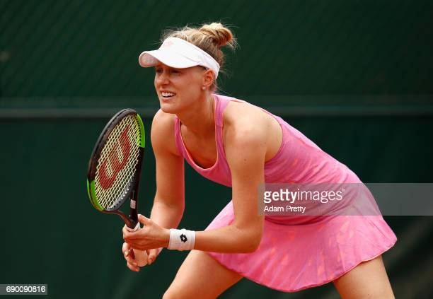 Alison Riske of The United States looks on during the ladies singles first round match against Barbora Strycova of The Czech Republic on day three of...