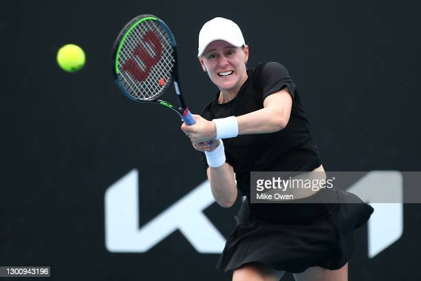 Alison Riske of The United States of America plays a backhand in her Women's Singles first round match against Anastasia Potapova of Russia during...