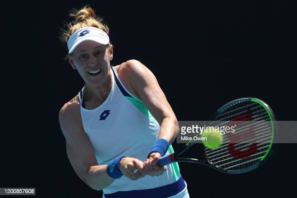 Alison Riske of the United States plays a backhand during her Women's Singles first round match against Yafan Wang of China on day two of the 2020...