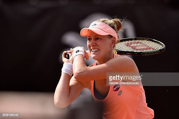 Alison Riske of the United States plays a backhand in her match against Elena Vesnina of Russia on Day One of The Internazionali BNL d'Italia 2016 on...