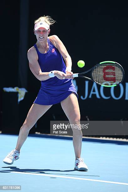 Alison Riske of the United States plays a backhand in his first round match against Madison Brengle of the United States on day one of the 2017...