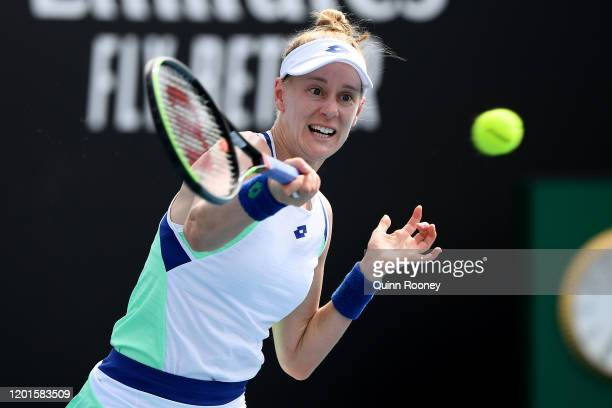 Alison Riske of the United States plays a forehand during her Women's Singles third round match against Julia Goerges of Germany on day five of the...