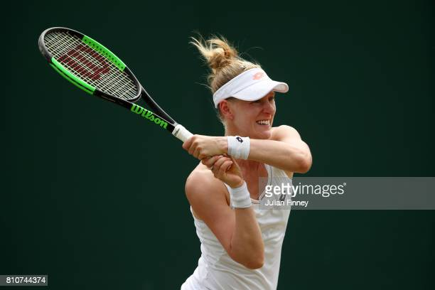 Alison Riske of The United States plays a forehand during the Ladies Singles third round match against Coco Vandeweghe of The United States on day...