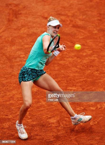 Alison Riske of The United States plays a forehand during the Ladies Singles first round match against Simona Halep of Romania during day four of the...