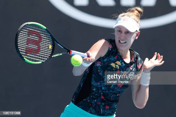 Alison Riske of the United States plays a forehand in her first round match against Kiki Bertens of the Netherlands during day one of the 2019...