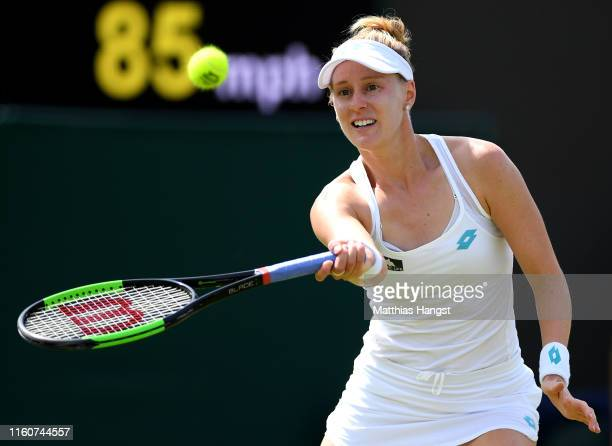 Alison Riske of The United States plays a forehand in her Ladies' Singles fourth round match against Ashleigh Barty of Australia during Day Seven of...