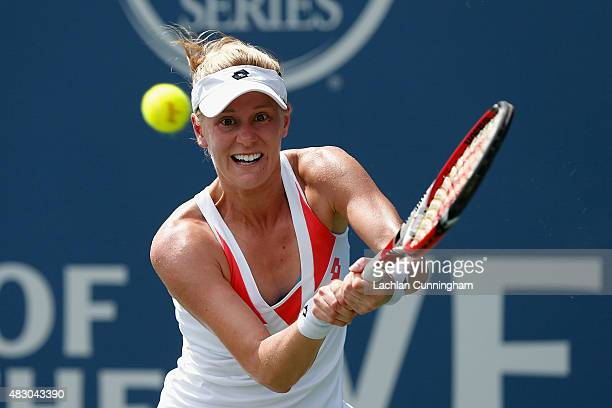 Alison Riske of the United States plays against Carla Suarez Navarro of Spain during day three of the Bank of the West Classic at the Stanford...