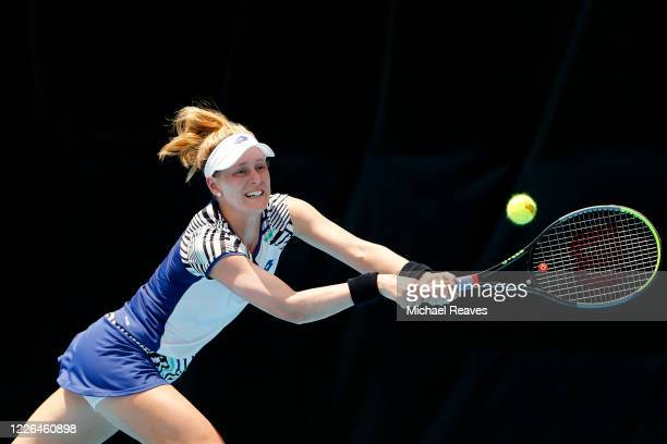 Alison Riske of the United States returns a shot against Ajla Tomljanovic of Australia during the UTR Pro Match Series Day 1 on May 22, 2020 in West...