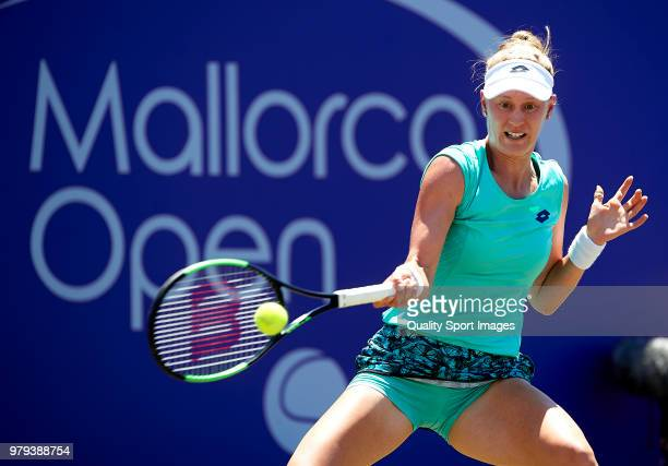Alison Riske of the United States returns a shot during her match against Angelique Kerber of Germany during day third of the Mallorca Open at...