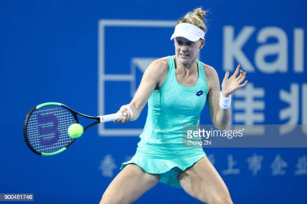 Alison Riske of the United States returns a shot during the match against Maria Sharapova of Russia during Day 3 of 2018 WTA Shenzhen Open at...