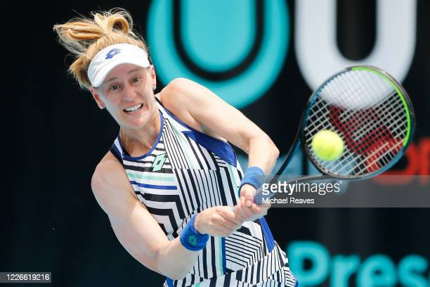 Alison Riske of the United States returns a shot to Danielle Collins of the United States during the UTR Pro Match Series Day 2 on May 23, 2020 in...