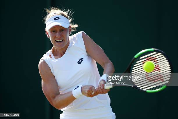 Alison Riske of The United States returns against Mariana DuqueMarino of Colombia during their Ladies' Singles first round match on day two of the...