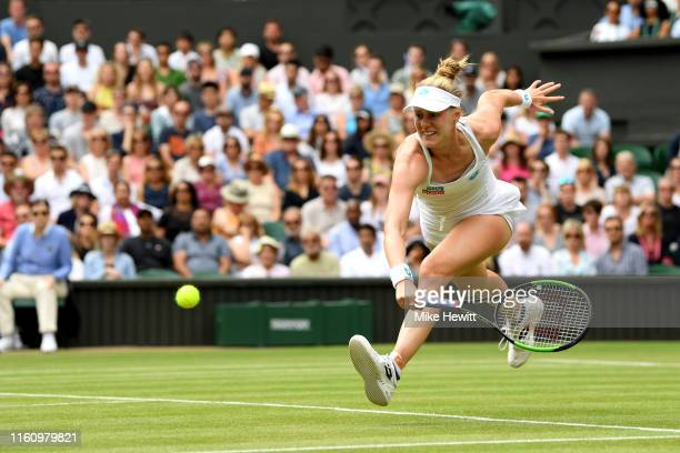 Alison Riske of the United States returns the ball in her Ladies' Singles Quarter Final match against Serena Williams of the United States during Day...