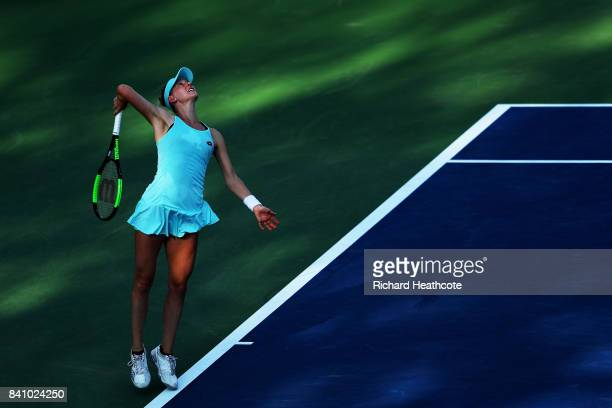 Alison Riske of the United States serves against CoCo Vandeweghe of the United States during their first round Women's Singles match on Day Three of...