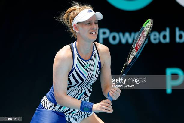Alison Riske of the United States waits on a serve from Danielle Collins of the United States during the UTR Pro Match Series Day 2 on May 23, 2020...
