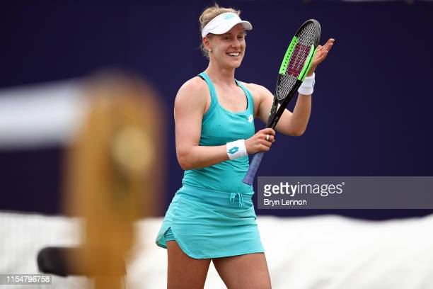 Alison Riske of the USA acknowledges the crowd after winning the Women's Singles Final on day seven of the Surbiton Trophy at the Surbiton Racquet...