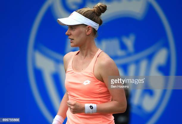 Alison Riske of The USA celebrates winning a point during the second round match against Garbine Muguruza of Spain on day four of The Aegon Classic...