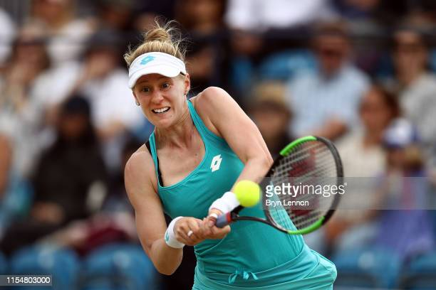 Alison Riske of the USA in action during the Women's Single Final at Surbiton Racquet Fitness Club on June 09 2019 in London England