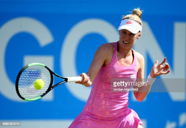 Alison Riske of the USA plays a forehand during her match against Magdalena Rybarikova of Slovakia during day four of the Aegon Open Nottingham at...