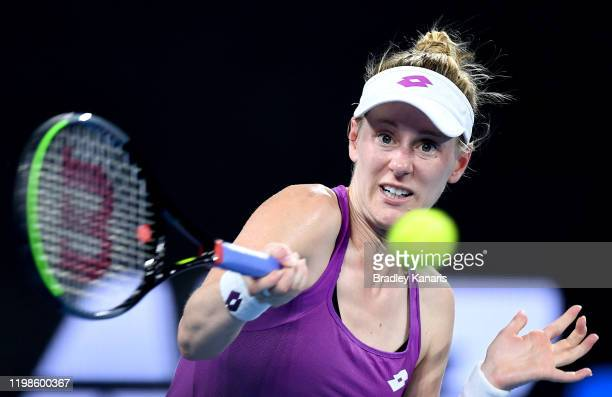 Alison Riske of the USA plays a forehand in her match against Karolina Pliskova of The Czech Republic during day five of the 2020 Brisbane...
