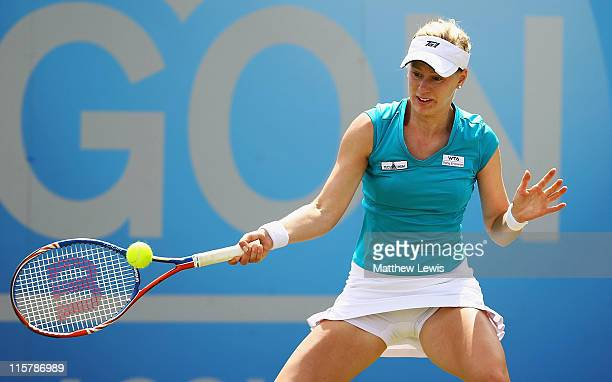 Alison Riske of the USA plays a forehand shot during her match against Daniela Hantuchova of Slovakia during the fifth day of the AEGON Classic at...