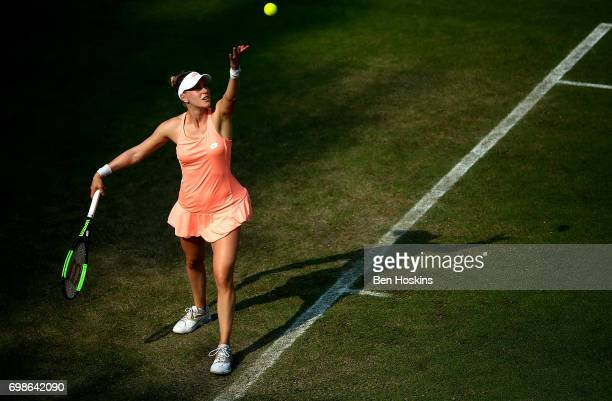 Alison Riske of The USA serves during her first round match against Donna Veckic of Croatia on day two of The Aegon Classic Birmingham at Edgbaston...