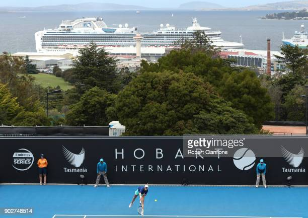 Alison Riske of the USA serves during her singles match againsts Katerina Siniakova of the Czech Republic during the 2018 Hobart International at...
