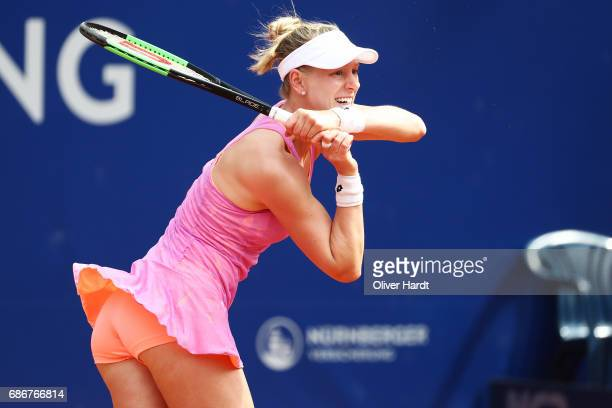 Alison Riske of United States of America in action against Elise Mertens of Belgium in the first round during the WTA Nuernberger Versicherungscup on...