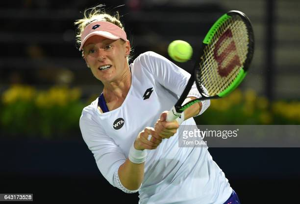 Alison Riske of United States playes forehand during her match against Coco Vandeweghe of United States on day two of the WTA Dubai Duty Free Tennis...