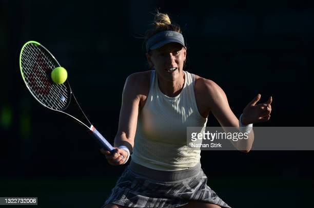 Alison Riske of United States plays a forehand shot to Xiyu Wang of China during the Women's singles on day five of the Viking Open at Nottingham...