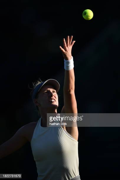 Alison Riske of United States serves to Xiyu Wang of China during the Women's singles on day five of the Viking Open at Nottingham Tennis Centre on...