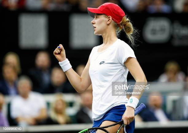 Alison Riske of USA celebrates after winning the point against Katerina Siniakova of Czech Republic during the Fed Cup Final between Czech Republic...