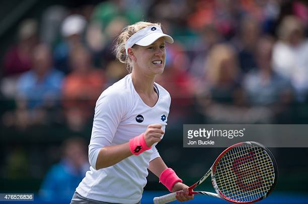Alison Riske of USA celebrates during her match against Mirjana LucicBaroni of Croatia on day three of the WTA Aegon Open Nottingham at Nottingham...