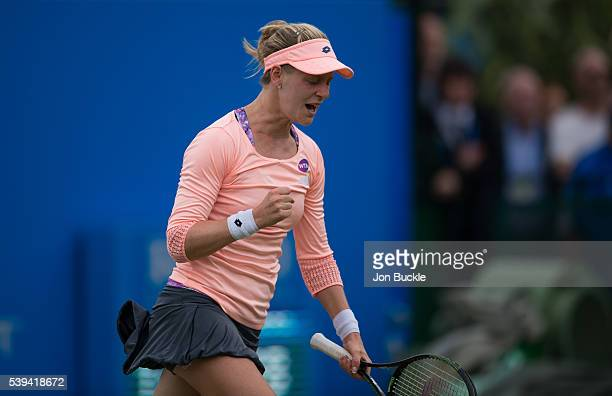 Alison Riske of USA celebrates during her victory against Saisai Zheng of China on day six of the WTA Aegon Open on June 11 2016 in Nottingham England