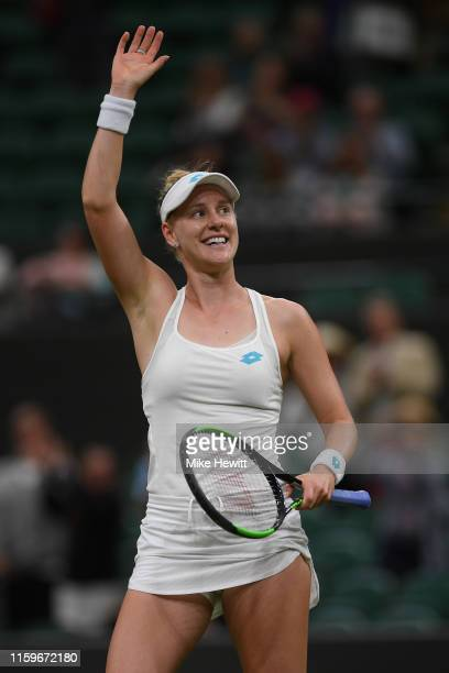 Alison Riske of USA celebrates victory against Donna Vekic of Croatia in their 1st round match on Day 2 of The Championships Wimbledon 2019 at All...