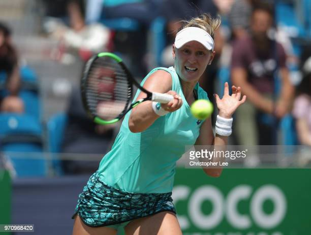 Alison Riske of USA in action as she beats Conny Perrin of Switzerland during their Womens Final match on Day 09 of the Fuzion 100 Surbition Trophy...