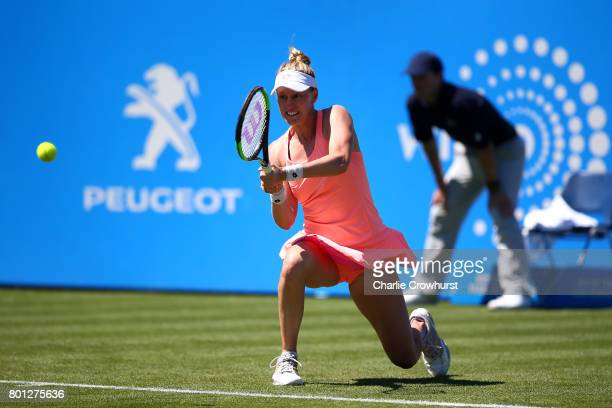 Alison Riske of USA in action during her first round match against Karolina Pliskova of Czech Republic during day two of the Aegon International...