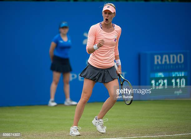 Alison Riske of USA in action during her match against Karolina Pliskova of Czech Republic on day seven of the WTA Aegon Open on June 12 2016 in...