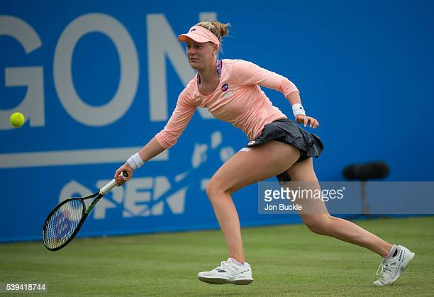 Alison Riske of USA in action during her victory against Saisai Zheng of China on day six of the WTA Aegon Open on June 11 2016 in Nottingham England