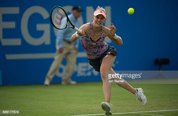 Alison Riske of USA lunges for the ball during her match against Anett Kontaveit of Estonia on day five of the WTA Aegon Open on June 10 2016 in...